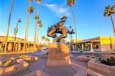 downtown Scottsdale with statue of cowboy riding horse