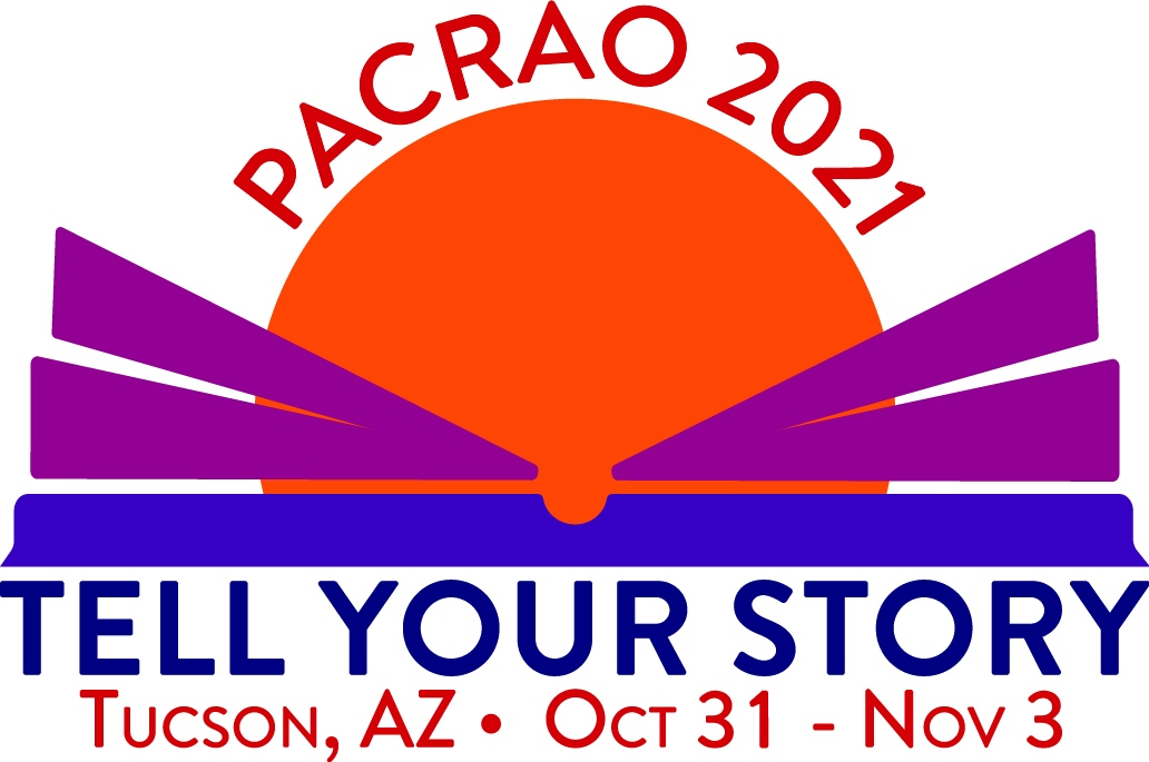 """Logo for the 2021 conference, including the words """"Tell Your Story: Tucson, AZ, October 31 - November 3"""""""