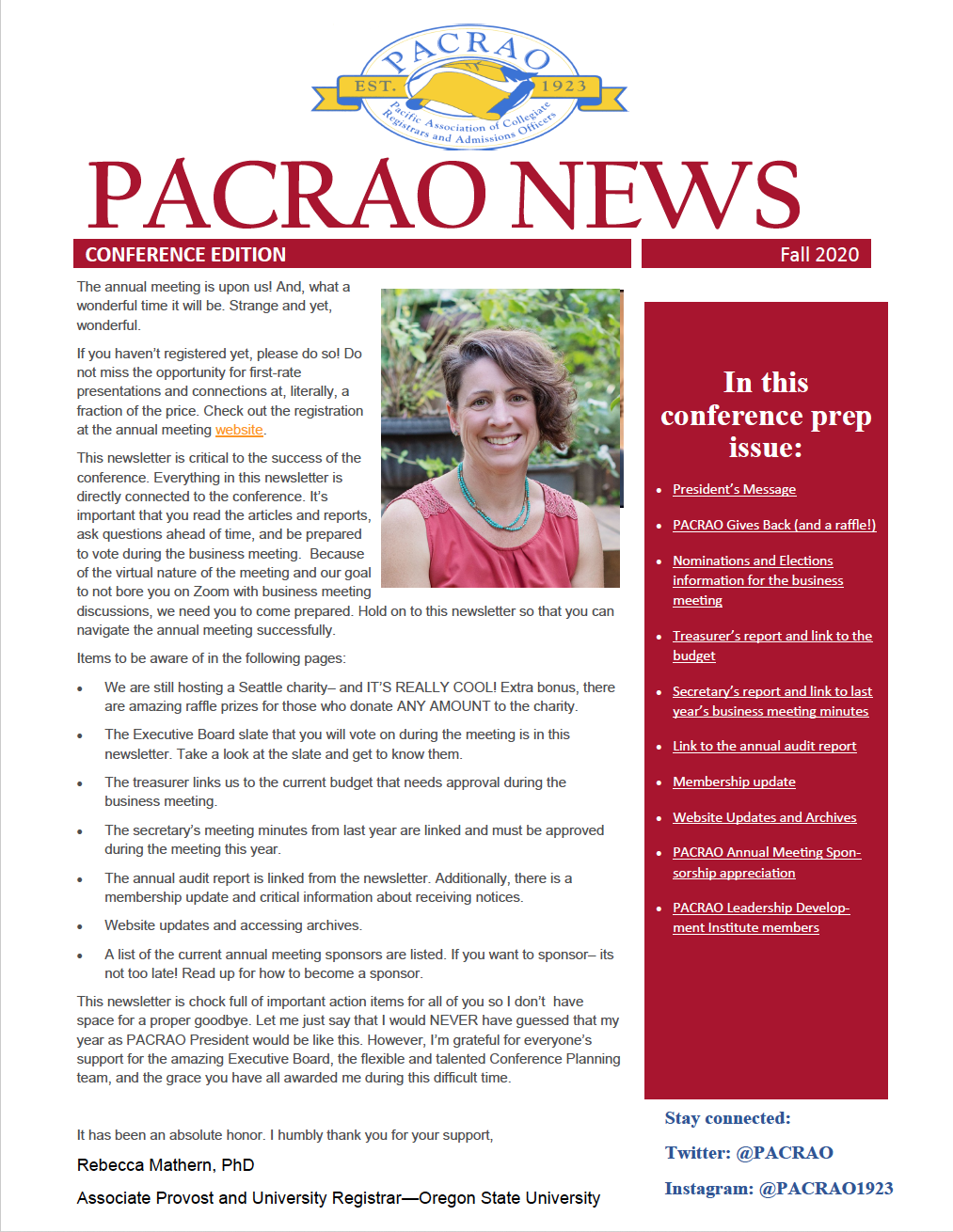 screen shot of front page of the Fall 2020 newsletter