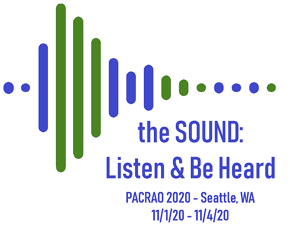 """Logo for the 2020 conference from November 1 through 4, 2020, including the words """"The SOUND: Listen and Be Heard"""""""